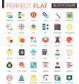 Set of flat blockchain technology icons