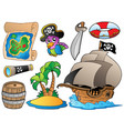 set of various pirate objects vector image