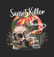skull with knife and wishkey in sunset vector image vector image