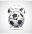 soccer ball on clock face an alarm clock vector image vector image