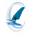 the windsurfer rides the waves on the sea vector image