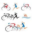 Triathlon cycling fitness icons vector image vector image
