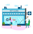 veterinarian doctor uniform with dog happy owner vector image