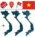 Vietnam map with named divisions vector image vector image