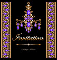 vintage frame with precious stones and gold vector image vector image