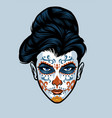 women head wearing sugar skull face make up vector image