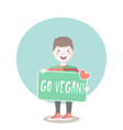 young character with a go vegan sign vector image vector image