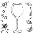 red vine glass hand drawn vector image
