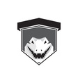 Alligator Head Shield Black and White vector image vector image