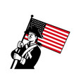 american patriot holding flag retro vector image vector image