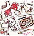 beauty and fashion watercolor cosmetics make up vector image vector image