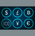 bitcoin and pound sterlings ico icons set vector image vector image
