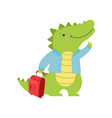 cheerful tourist crocodile with suitcase cute vector image