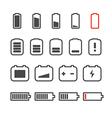 Different accumulator status icons Minimalism conc vector image