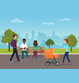 different people are on their daily goings in the vector image vector image