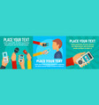 digital dictaphone banner set flat style vector image