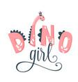 dino girl hand drawn pink vector image