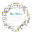 education circle template flat line icons for vector image