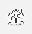 family in house concept line icon stay at vector image