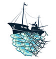 fishing boat and fish in the fishnet vector image vector image