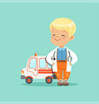 flat of baby boy in white medical coat and vector image vector image