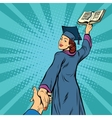 follow me a woman student graduate knowledge vector image vector image