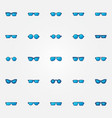 glasses and sunglasses blue icons set vector image