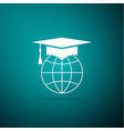 graduation cap on globe icon on green background vector image vector image