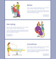hair styling and barber service posters set vector image vector image