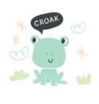 hand drawn cute frog character vector image vector image
