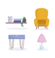 home room furniture chair table lamp and shelf vector image vector image