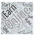 How to Earn Instant Money Online Word Cloud vector image vector image
