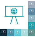 icons in a flat style globe on board vector image vector image