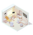 isometric labor and delivery room vector image vector image