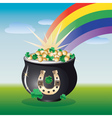 Landscape with pot of gold vector image vector image