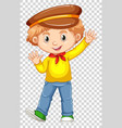 little boy in yellow shirt waving hand vector image vector image