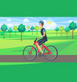 man on bicycle view from left vector image vector image