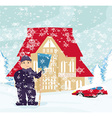 Man shoveling snow vector image vector image