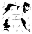 mermaids silhouettes black vector image