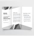minimal gray trifold brochure design template vector image vector image