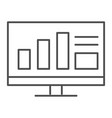 monitor with graph thin line icon computer with vector image vector image