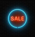 neon red sale sign in a blue circle frame on a vector image