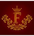 Patterned golden letter F monogram in vintage vector image vector image