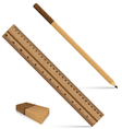 Pencil ruler and eraser on a wooden design Ruler vector image vector image