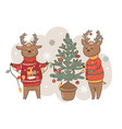 postcard with deer in sweaters decorating vector image