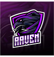 raven sport mascot logo design vector image vector image