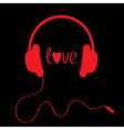 Red headphones with cord on black background vector image vector image