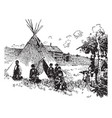 scene on an indian reservation vintage vector image vector image