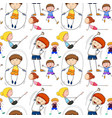 seamless background with kids doing exercise vector image