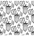seamless pattern with acorns and leaves hand vector image vector image